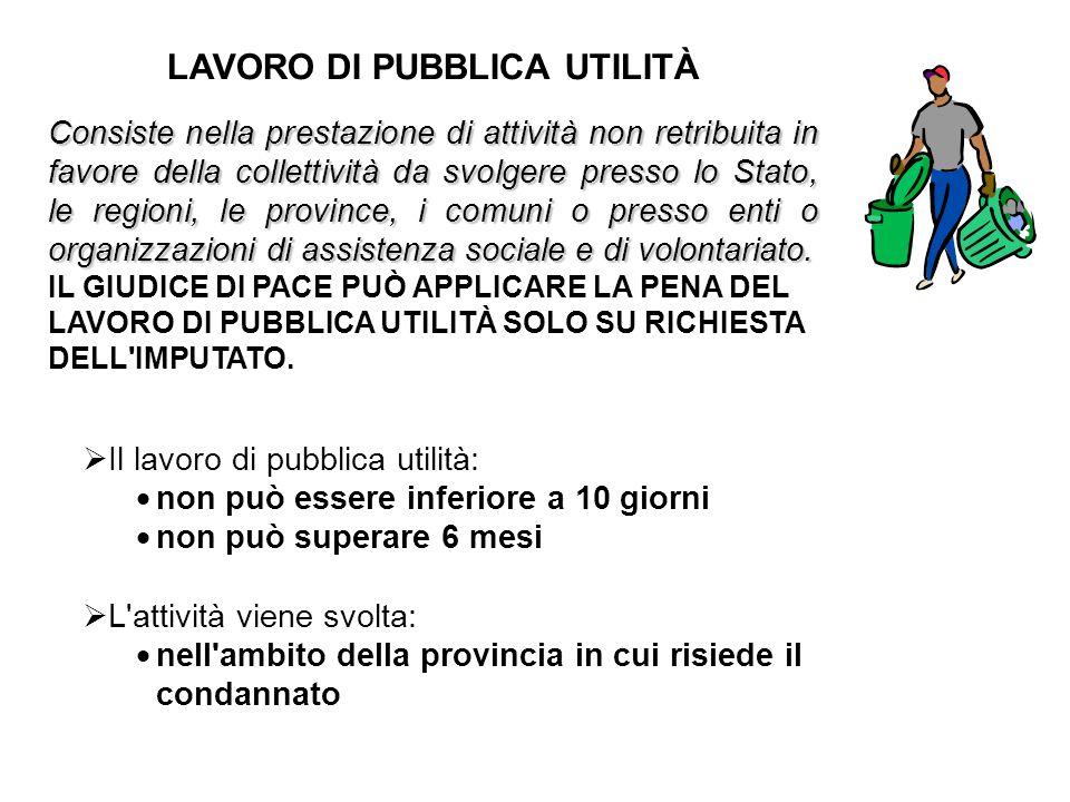  Il lavoro di pubblica utilità:  non può essere inferiore a 10 giorni  non può superare 6 mesi  L'attività viene svolta:  nell'ambito della provi