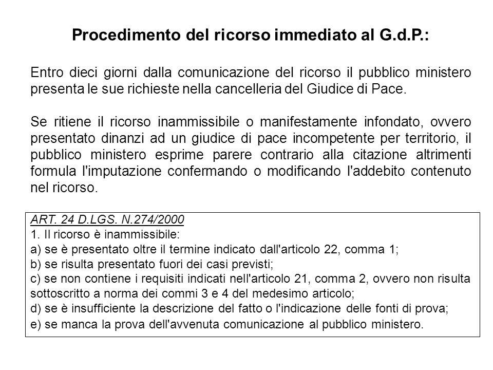 Procedimento del ricorso immediato al G.d.P.: Entro dieci giorni dalla comunicazione del ricorso il pubblico ministero presenta le sue richieste nella