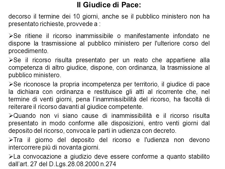Il Giudice di Pace: decorso il termine dei 10 giorni, anche se il pubblico ministero non ha presentato richieste, provvede a :  Se ritiene il ricorso