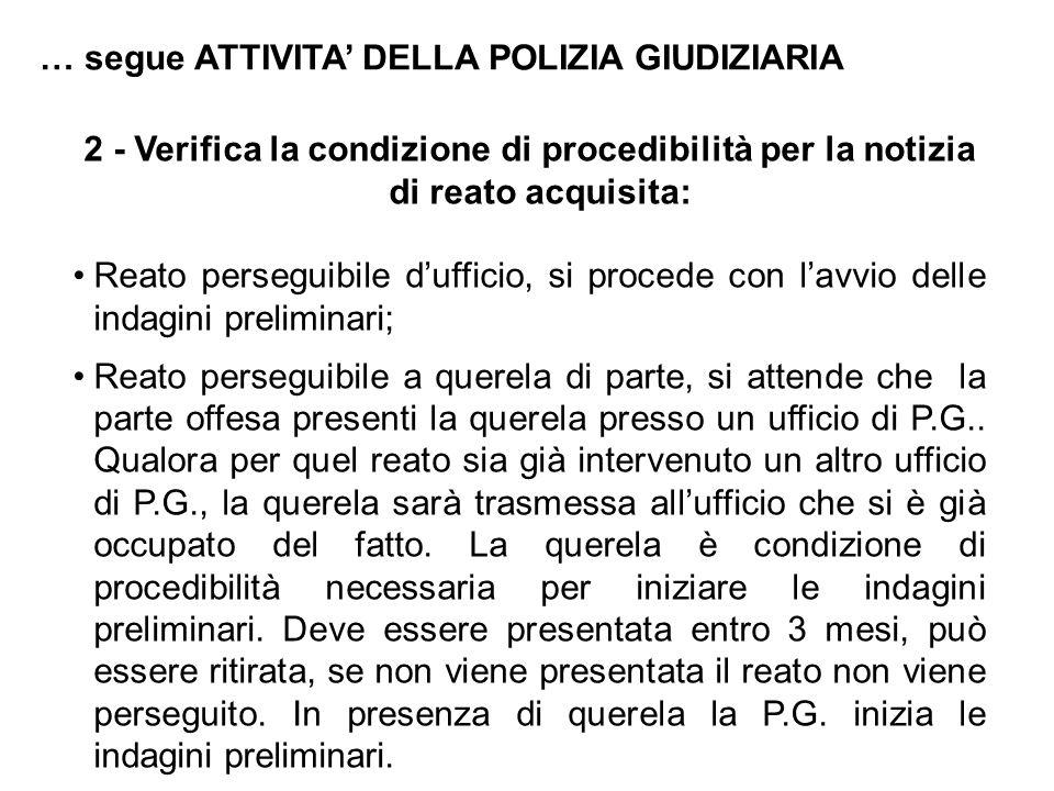 2 - Verifica la condizione di procedibilità per la notizia di reato acquisita: Reato perseguibile d'ufficio, si procede con l'avvio delle indagini pre