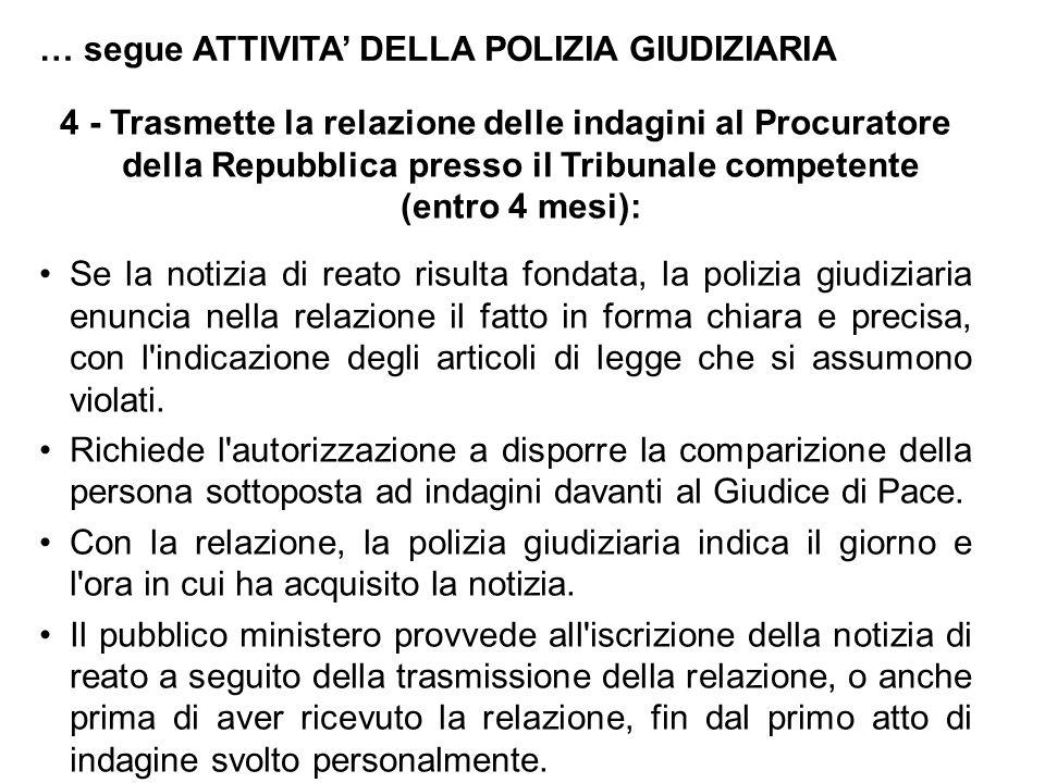 … segue ATTIVITA' DELLA POLIZIA GIUDIZIARIA 4 - Trasmette la relazione delle indagini al Procuratore della Repubblica presso il Tribunale competente (