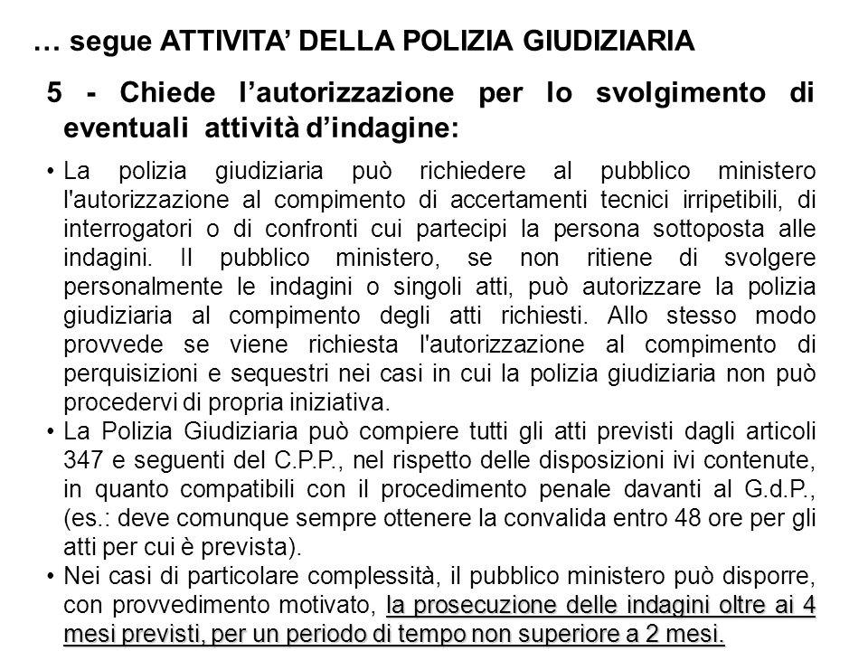 … segue ATTIVITA' DELLA POLIZIA GIUDIZIARIA 5 - Chiede l'autorizzazione per lo svolgimento di eventuali attività d'indagine: La polizia giudiziaria pu
