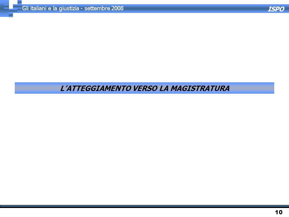 ISPO Gli italiani e la giustizia - settembre 2008 10 L'ATTEGGIAMENTO VERSO LA MAGISTRATURA