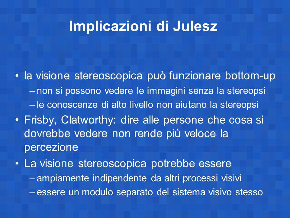 Implicazioni di Julesz la visione stereoscopica può funzionare bottom-up –non si possono vedere le immagini senza la stereopsi –le conoscenze di alto