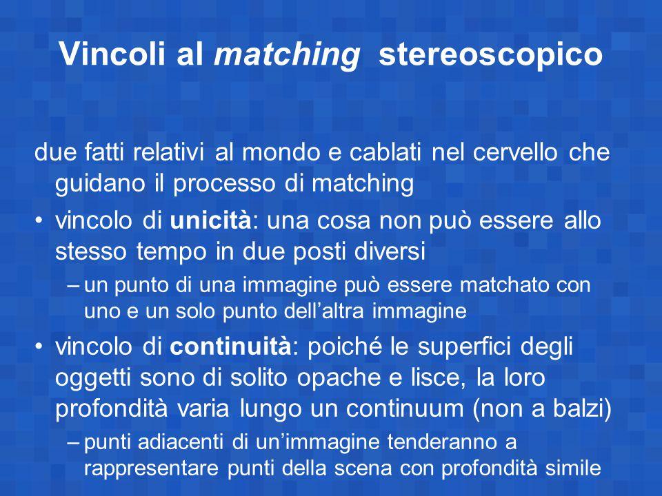 Vincoli al matching stereoscopico due fatti relativi al mondo e cablati nel cervello che guidano il processo di matching vincolo di unicità: una cosa