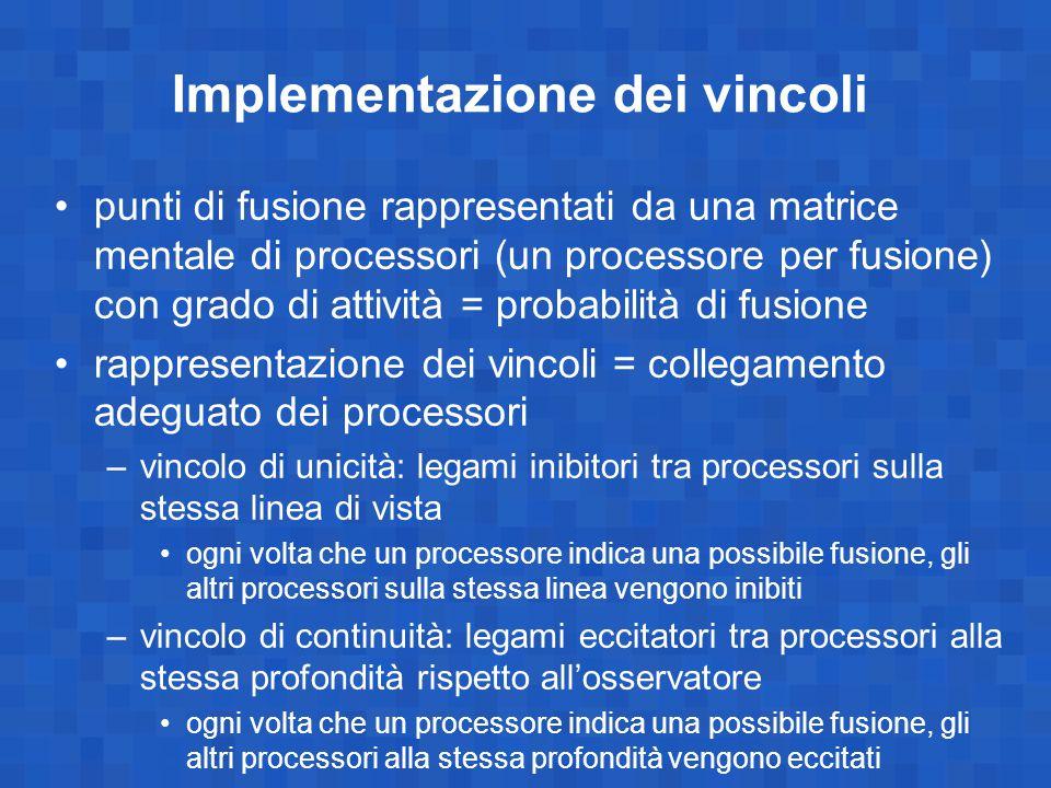 Implementazione dei vincoli punti di fusione rappresentati da una matrice mentale di processori (un processore per fusione) con grado di attività = pr
