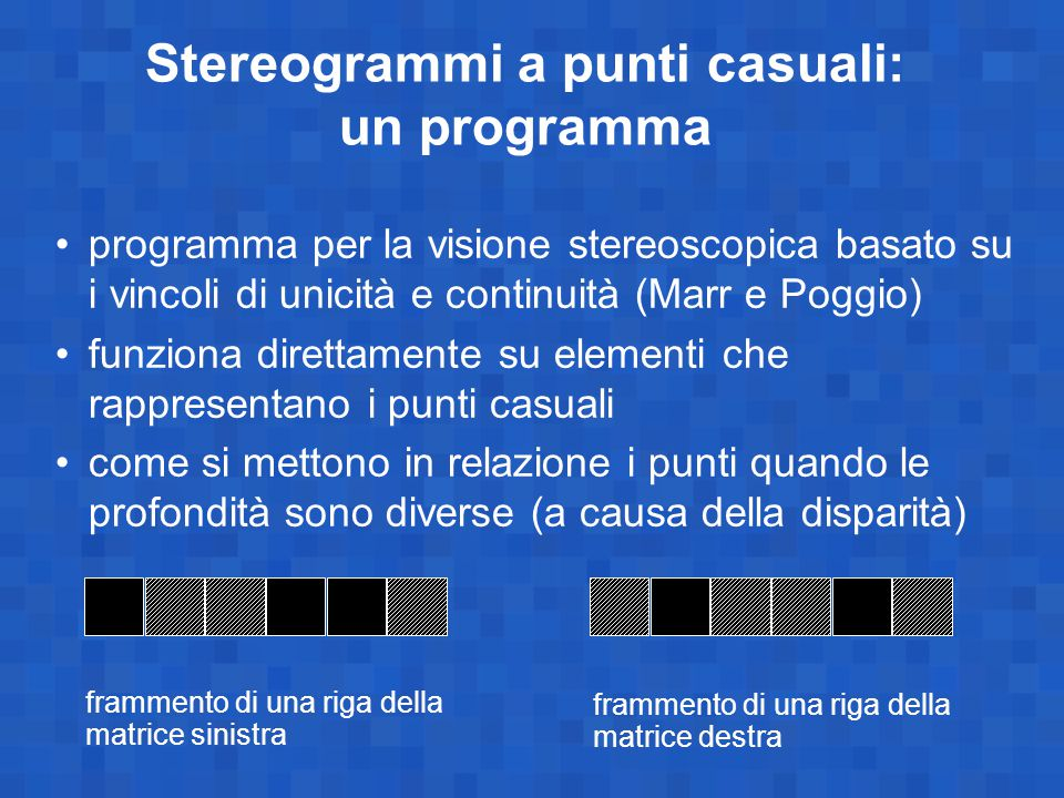 Stereogrammi a punti casuali: un programma programma per la visione stereoscopica basato su i vincoli di unicità e continuità (Marr e Poggio) funziona