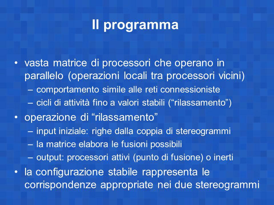 Il programma vasta matrice di processori che operano in parallelo (operazioni locali tra processori vicini) –comportamento simile alle reti connession