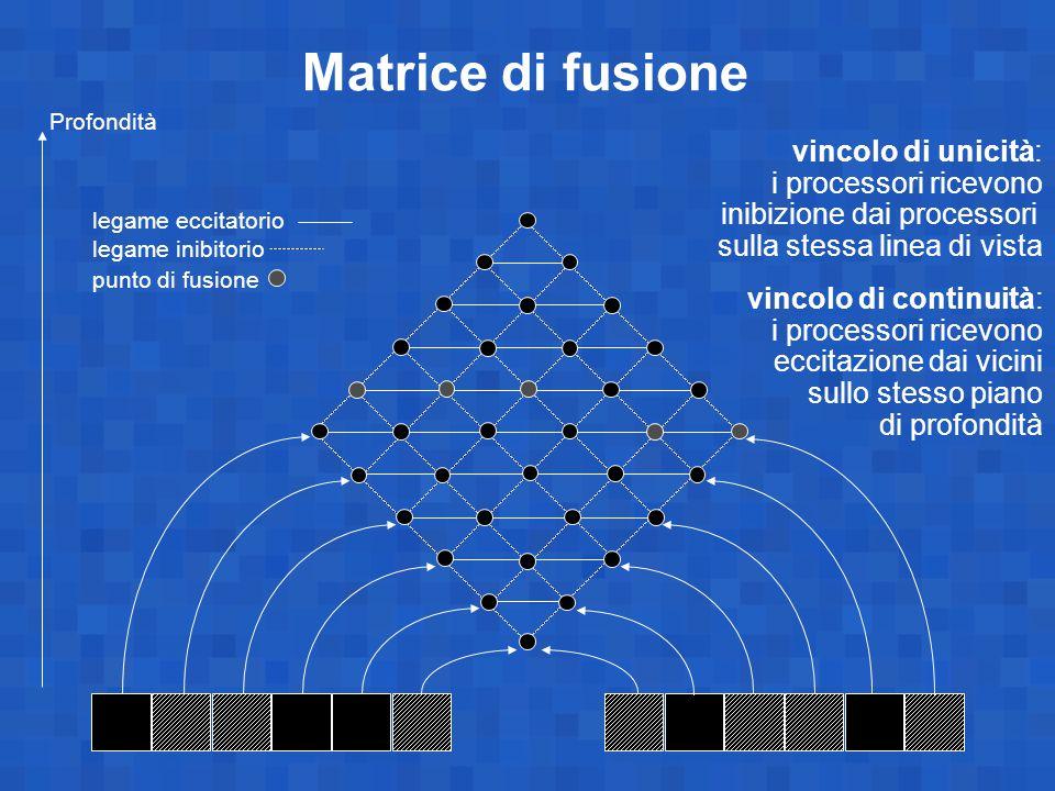 Matrice di fusione vincolo di unicità: i processori ricevono inibizione dai processori sulla stessa linea di vista vincolo di continuità: i processori