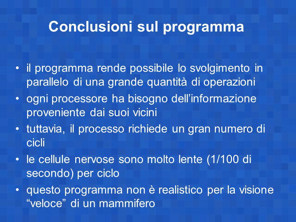 Conclusioni sul programma il programma rende possibile lo svolgimento in parallelo di una grande quantità di operazioni ogni processore ha bisogno del