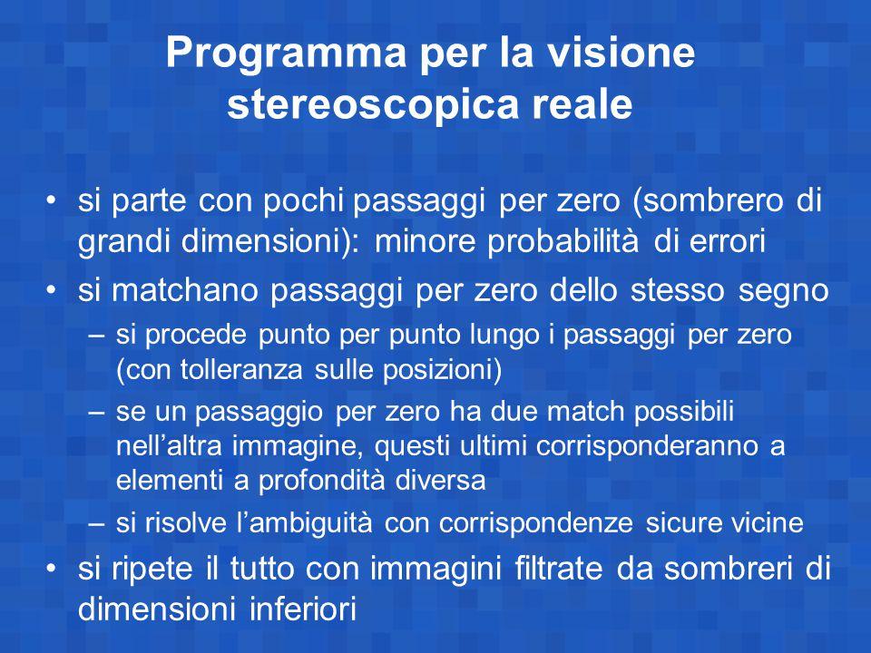 Programma per la visione stereoscopica reale si parte con pochi passaggi per zero (sombrero di grandi dimensioni): minore probabilità di errori si mat