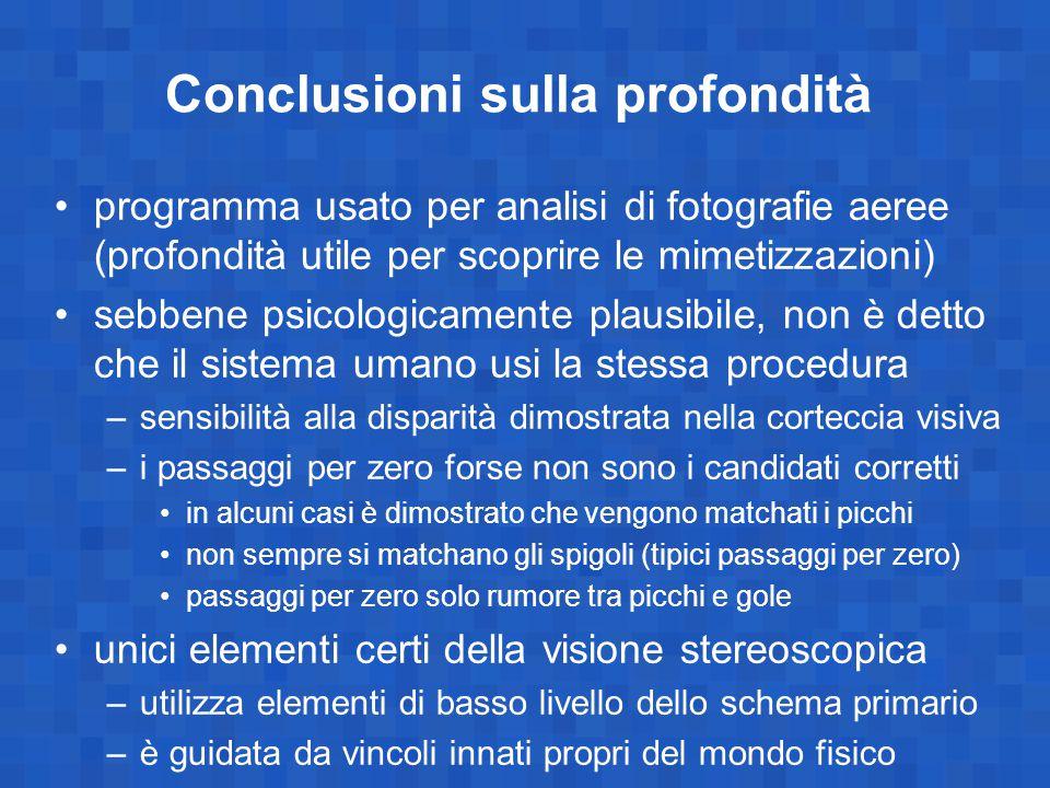 Conclusioni sulla profondità programma usato per analisi di fotografie aeree (profondità utile per scoprire le mimetizzazioni) sebbene psicologicament