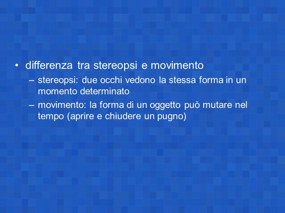differenza tra stereopsi e movimento –stereopsi: due occhi vedono la stessa forma in un momento determinato –movimento: la forma di un oggetto può mut