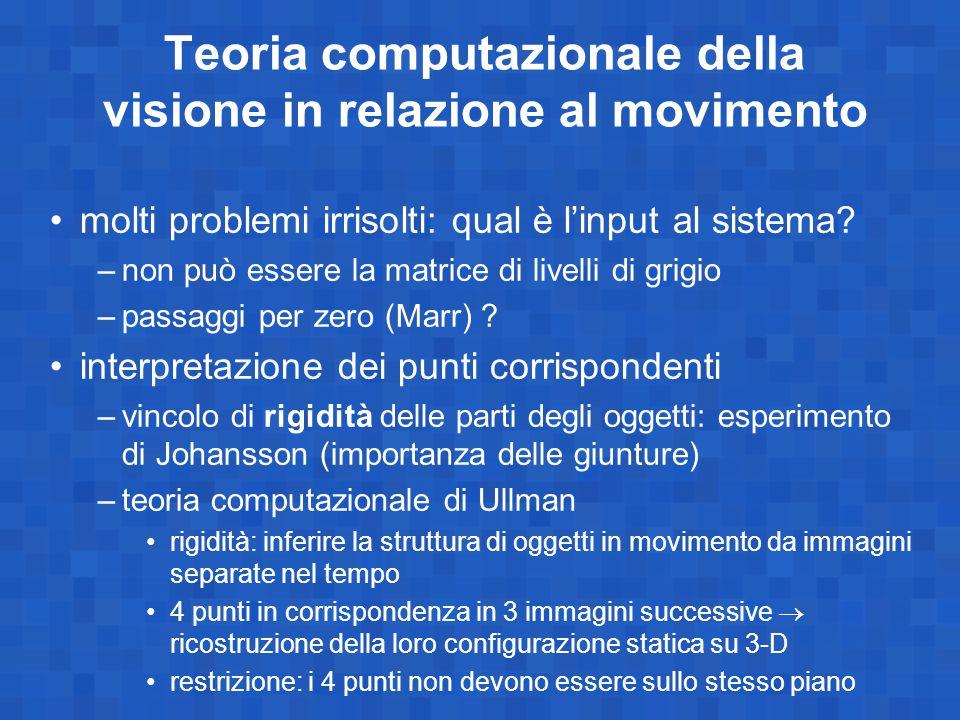 Teoria computazionale della visione in relazione al movimento molti problemi irrisolti: qual è l'input al sistema? –non può essere la matrice di livel