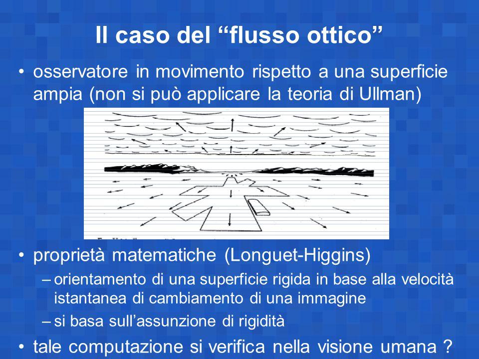 """Il caso del """"flusso ottico"""" osservatore in movimento rispetto a una superficie ampia (non si può applicare la teoria di Ullman) proprietà matematiche"""