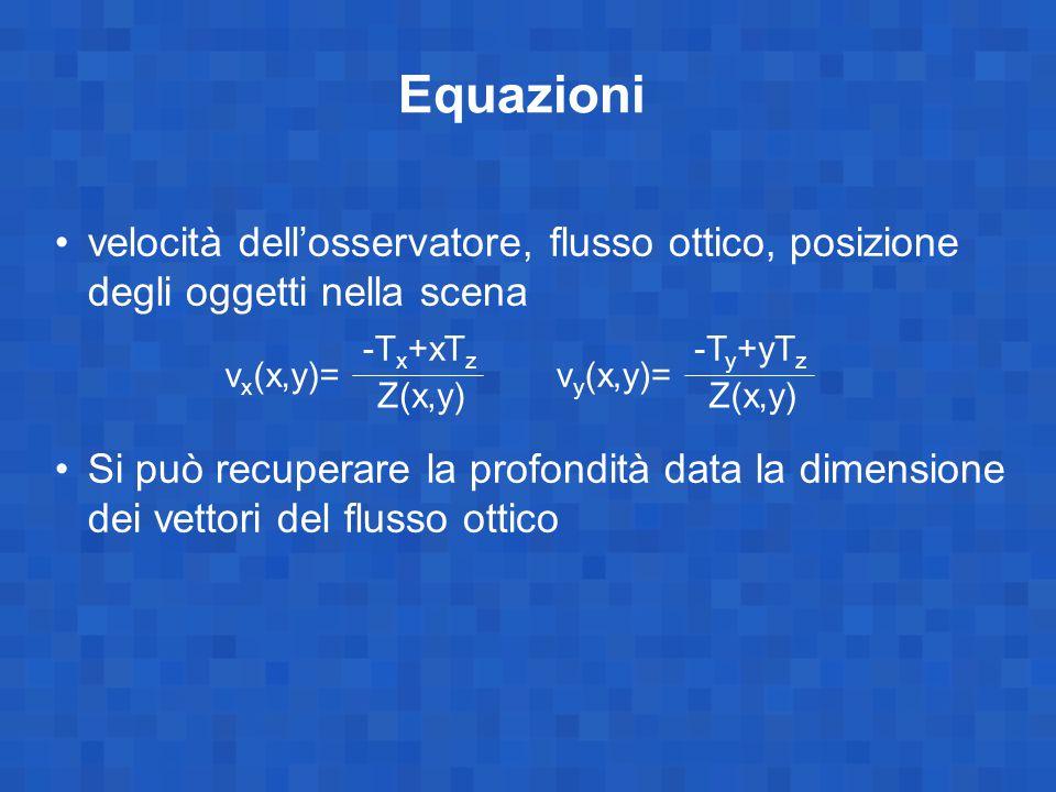 Equazioni velocità dell'osservatore, flusso ottico, posizione degli oggetti nella scena Si può recuperare la profondità data la dimensione dei vettori