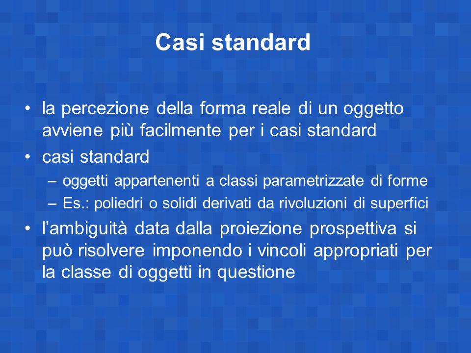 Casi standard la percezione della forma reale di un oggetto avviene più facilmente per i casi standard casi standard –oggetti appartenenti a classi pa