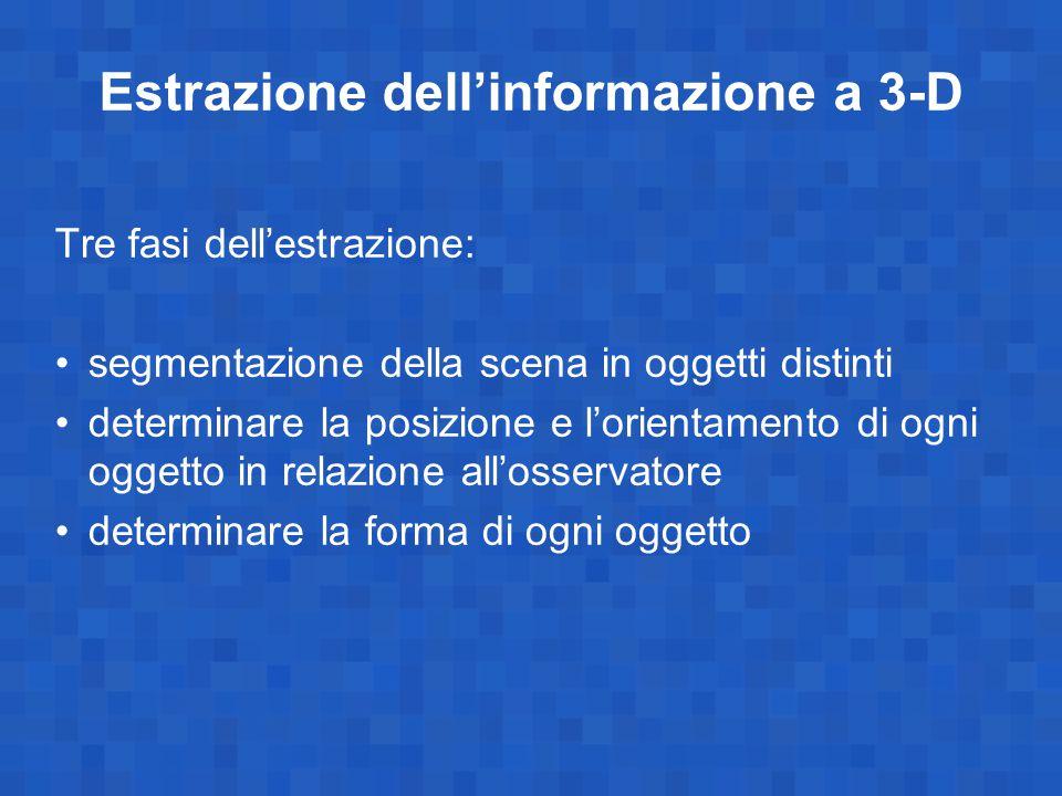 Estrazione dell'informazione a 3-D Tre fasi dell'estrazione: segmentazione della scena in oggetti distinti determinare la posizione e l'orientamento d