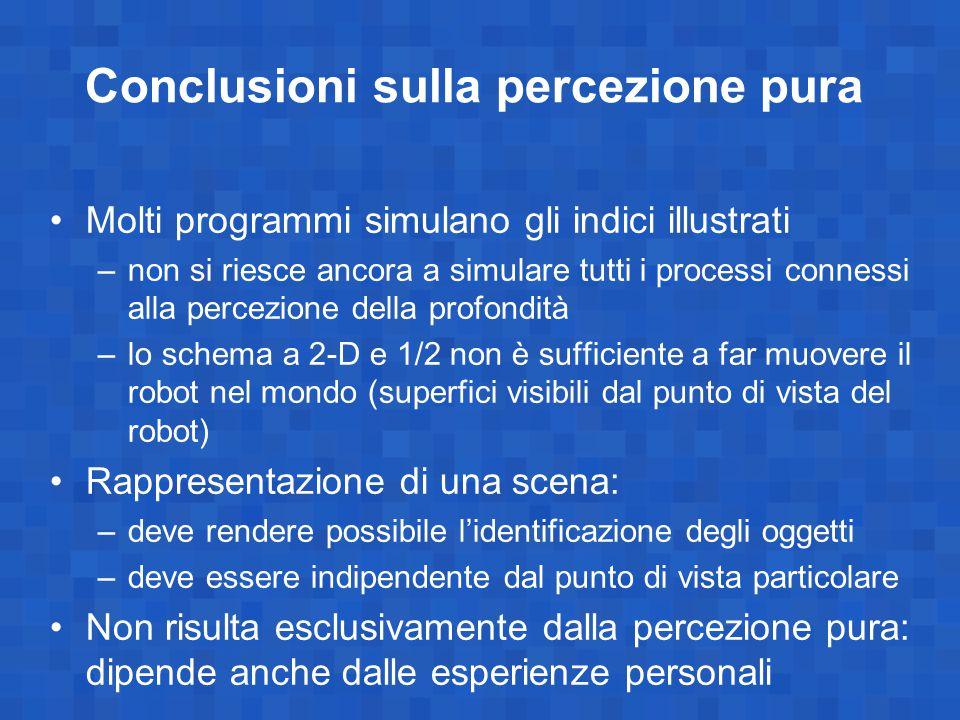 Conclusioni sulla percezione pura Molti programmi simulano gli indici illustrati –non si riesce ancora a simulare tutti i processi connessi alla perce