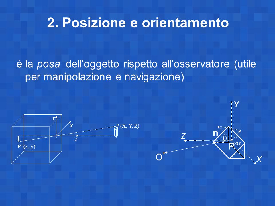 2. Posizione e orientamento è la posa dell'oggetto rispetto all'osservatore (utile per manipolazione e navigazione) Z Y X P (X, Y, Z) P' (x, y) O P n