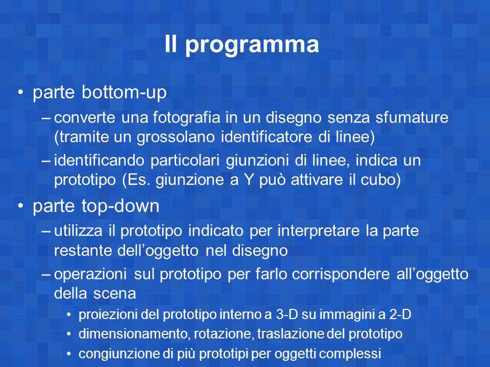 Il programma parte bottom-up –converte una fotografia in un disegno senza sfumature (tramite un grossolano identificatore di linee) –identificando par