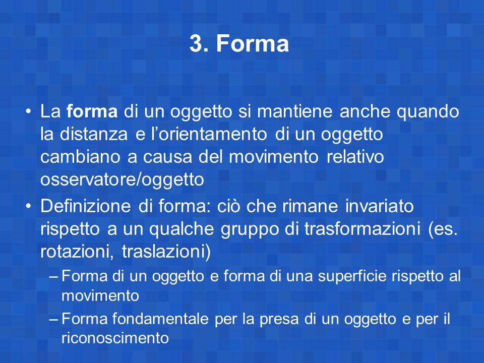 3. Forma La forma di un oggetto si mantiene anche quando la distanza e l'orientamento di un oggetto cambiano a causa del movimento relativo osservator