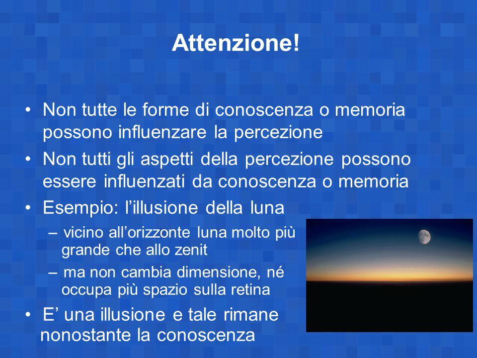 Attenzione! Non tutte le forme di conoscenza o memoria possono influenzare la percezione Non tutti gli aspetti della percezione possono essere influen
