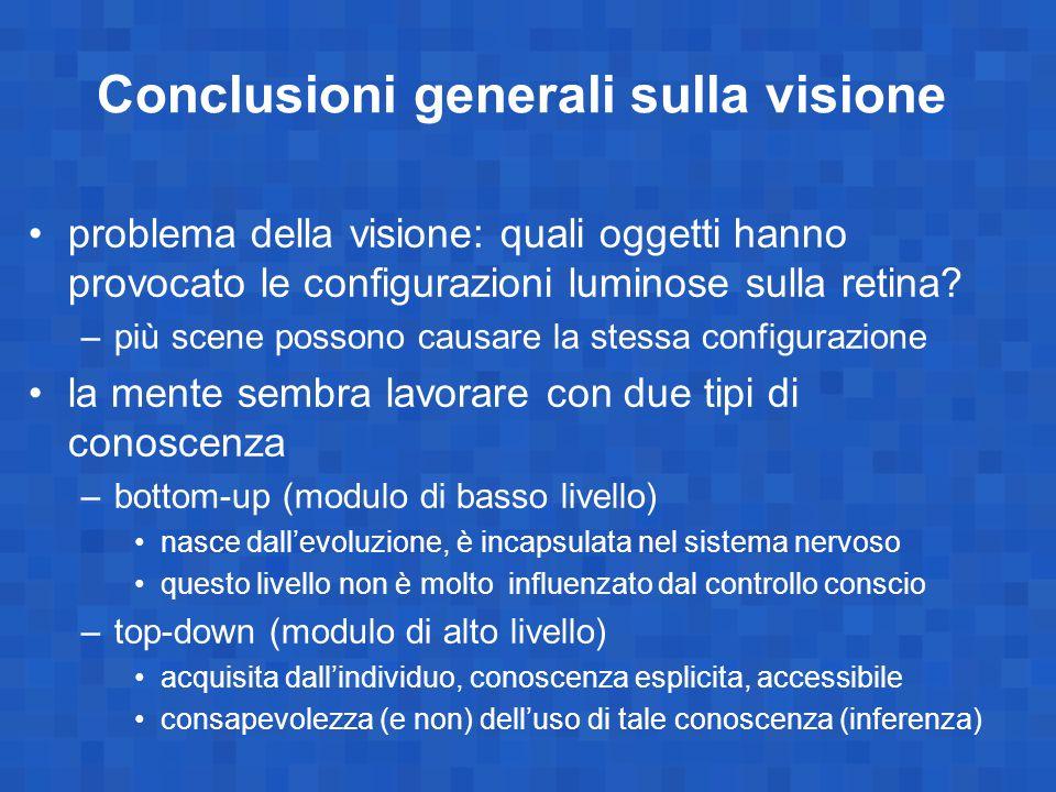 Conclusioni generali sulla visione problema della visione: quali oggetti hanno provocato le configurazioni luminose sulla retina? –più scene possono c