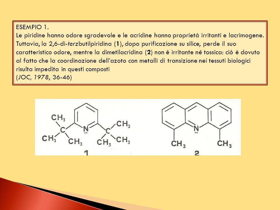 ESEMPIO 1. Le piridine hanno odore sgradevole e le acridine hanno proprietà irritanti e lacrimogene. Tuttavia, la 2,6-di-terzbutilpiridina (1), dopo p