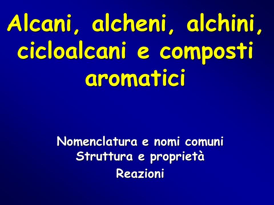 Alcani, alcheni, alchini, cicloalcani e composti aromatici Nomenclatura e nomi comuni Struttura e proprietà Reazioni