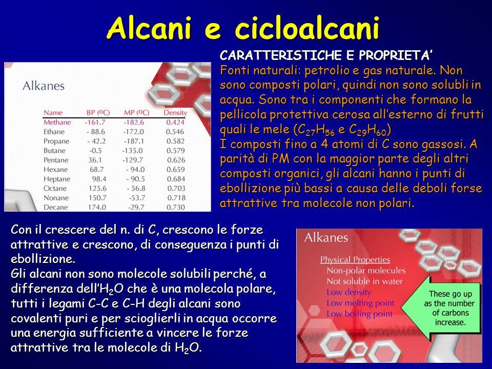 Alcani e cicloalcani Con il crescere del n. di C, crescono le forze attrattive e crescono, di conseguenza i punti di ebollizione. Gli alcani non sono