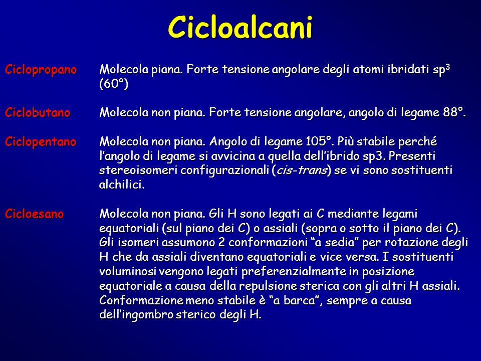 Cicloalcani Ciclopropano Molecola piana. Forte tensione angolare degli atomi ibridati sp 3 (60°) CiclobutanoMolecola non piana. Forte tensione angolar