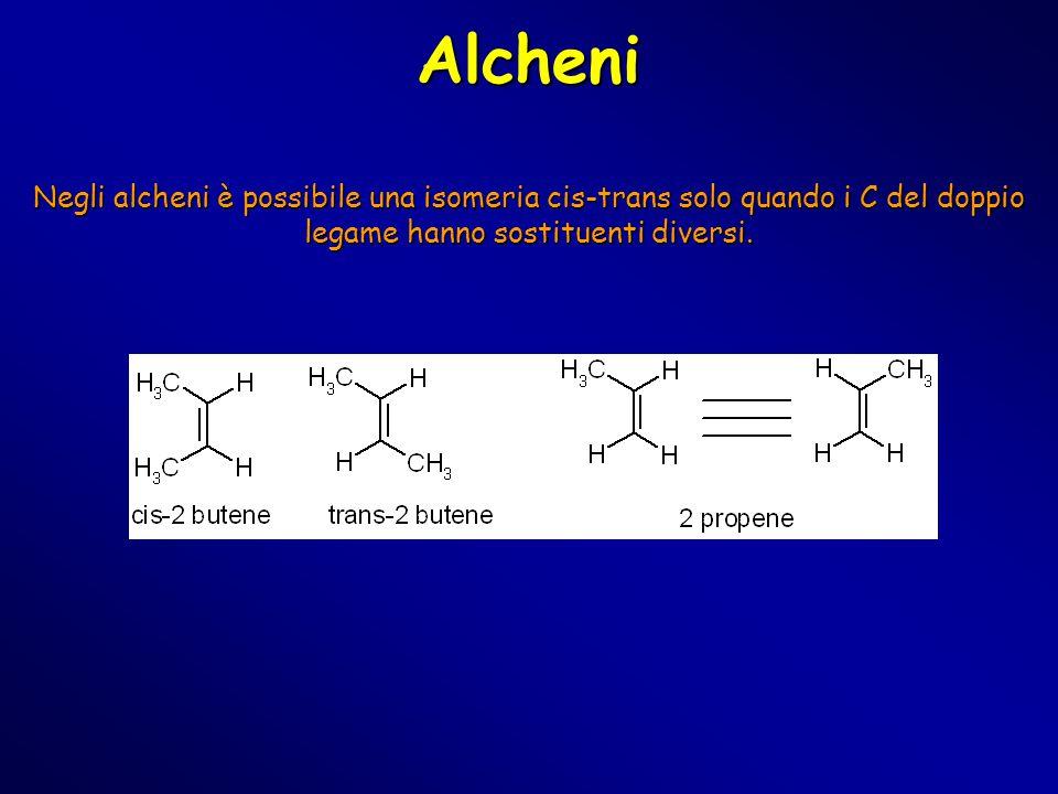 Alcheni Negli alcheni è possibile una isomeria cis-trans solo quando i C del doppio legame hanno sostituenti diversi.
