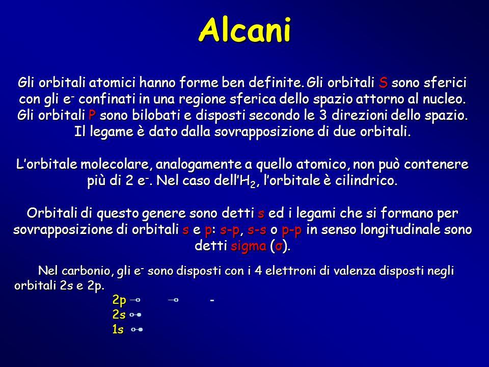Alcani Gli orbitali atomici hanno forme ben definite. Gli orbitali S sono sferici con gli e - confinati in una regione sferica dello spazio attorno al