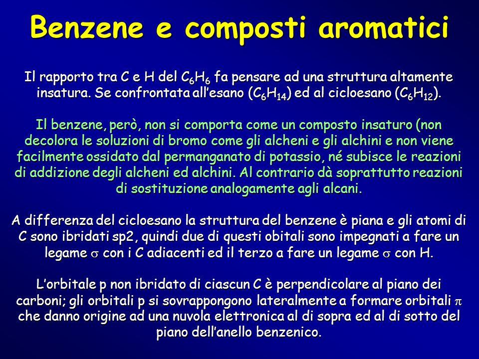 Benzene e composti aromatici Il rapporto tra C e H del C 6 H 6 fa pensare ad una struttura altamente insatura. Se confrontata all'esano (C 6 H 14 ) ed