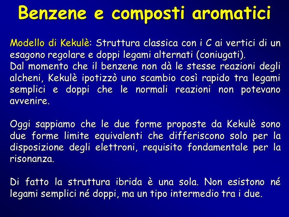 Benzene e composti aromatici Modello di Kekulè: Struttura classica con i C ai vertici di un esagono regolare e doppi legami alternati (coniugati). Dal