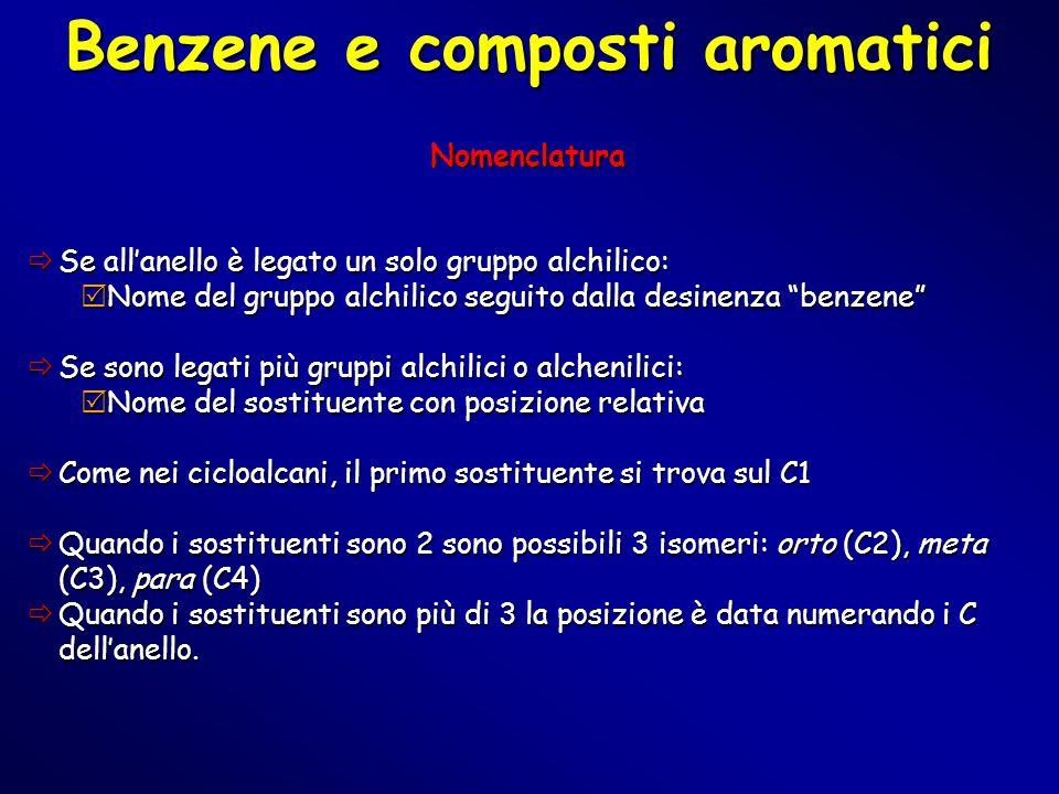 """Benzene e composti aromatici Nomenclatura  Se all'anello è legato un solo gruppo alchilico:  Nome del gruppo alchilico seguito dalla desinenza """"benz"""