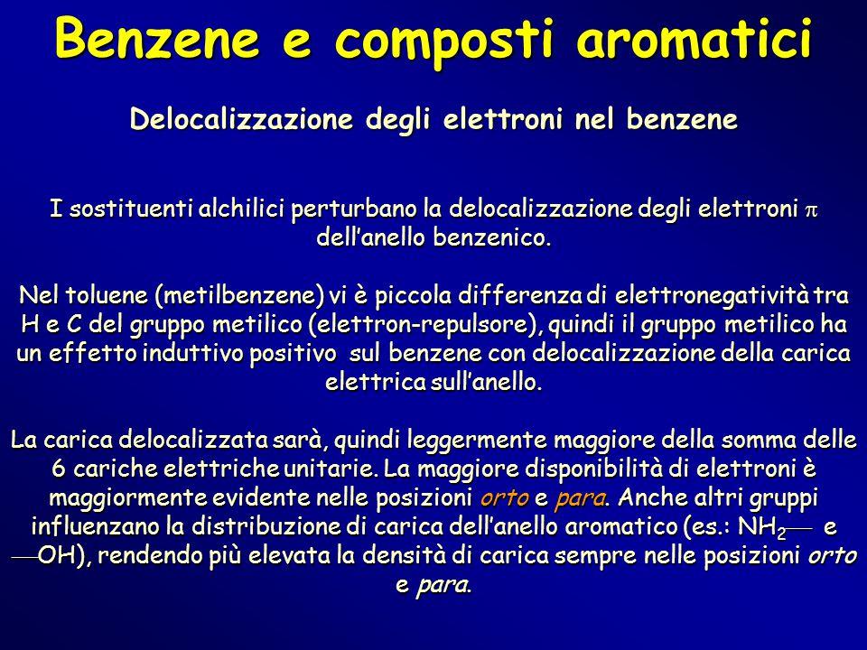 Benzene e composti aromatici Delocalizzazione degli elettroni nel benzene I sostituenti alchilici perturbano la delocalizzazione degli elettroni  del