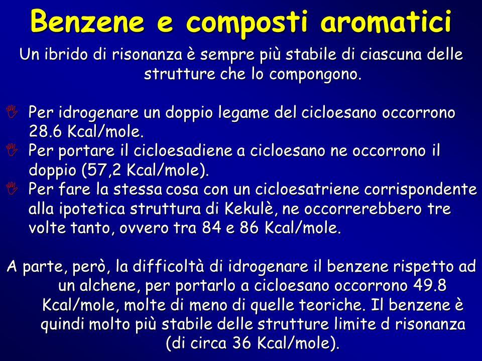 Benzene e composti aromatici Un ibrido di risonanza è sempre più stabile di ciascuna delle strutture che lo compongono.  Per idrogenare un doppio leg