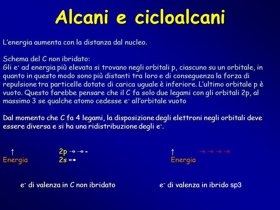 Alcani e cicloalcani L'energia aumenta con la distanza dal nucleo. Schema del C non ibridato: Gli e - ad energia più elevata si trovano negli orbitali