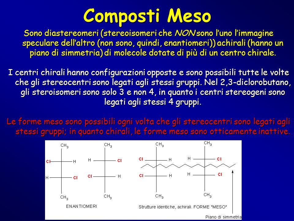 Composti Meso Sono diastereomeri (stereoisomeri che NON sono l'uno l'immagine speculare dell'altro (non sono, quindi, enantiomeri)) achirali (hanno un