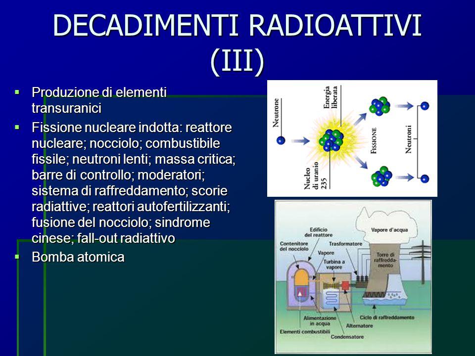 DECADIMENTI RADIOATTIVI (III)  Produzione di elementi transuranici  Fissione nucleare indotta: reattore nucleare; nocciolo; combustibile fissile; ne