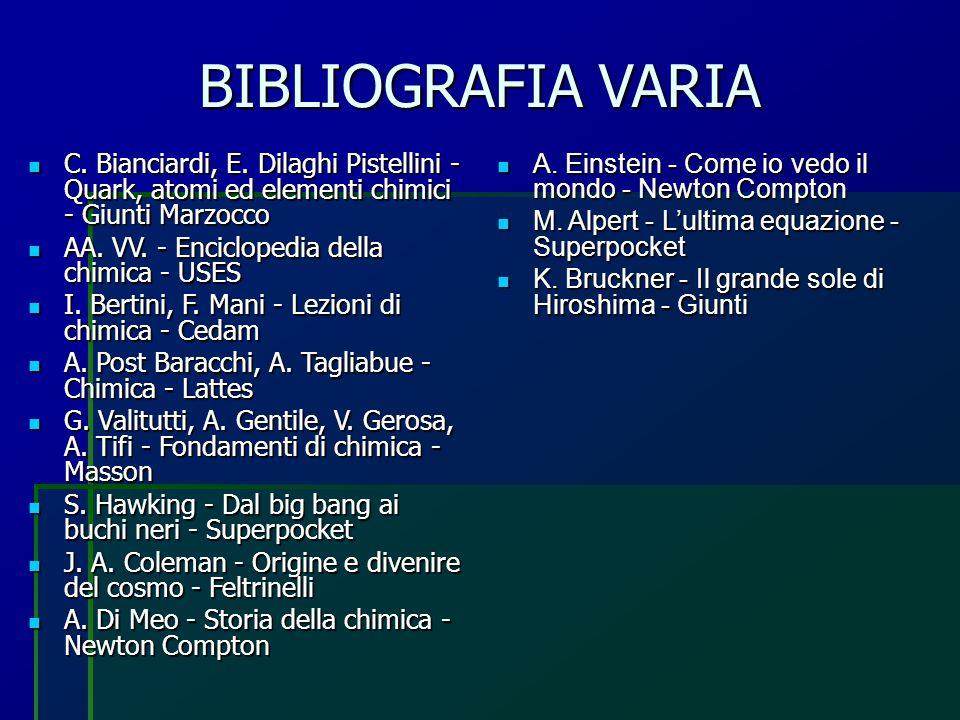 BIBLIOGRAFIA VARIA C. Bianciardi, E. Dilaghi Pistellini - Quark, atomi ed elementi chimici - Giunti Marzocco C. Bianciardi, E. Dilaghi Pistellini - Qu