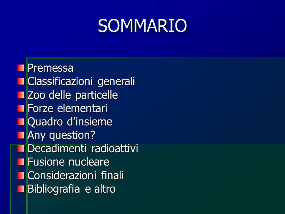 SOMMARIO Premessa Classificazioni generali Zoo delle particelle Forze elementari Quadro d'insieme Any question? Decadimenti radioattivi Fusione nuclea