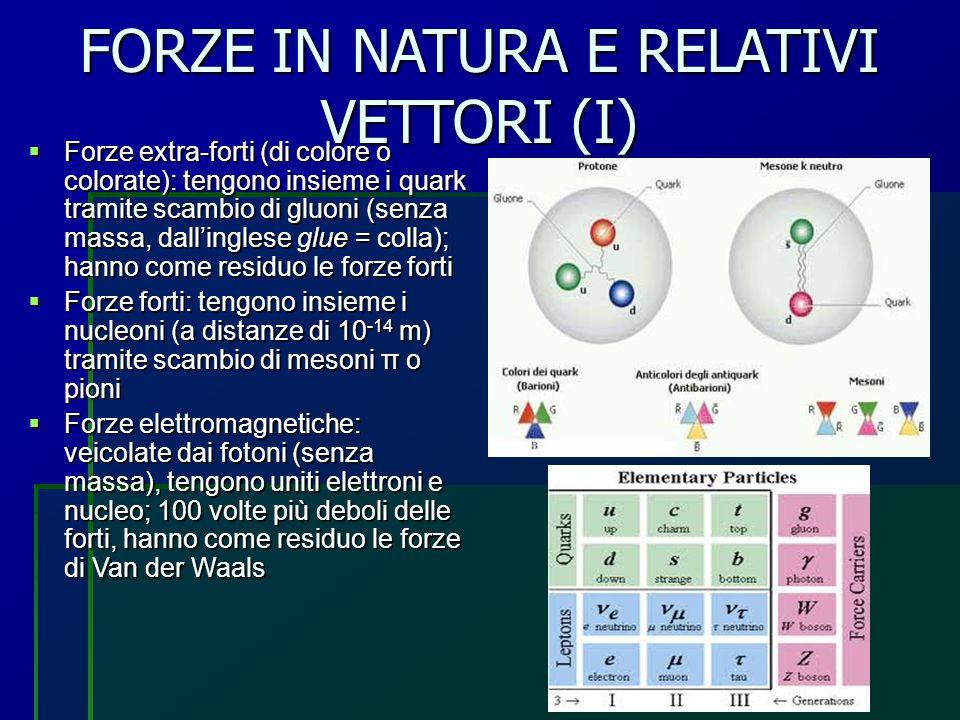 FORZE IN NATURA E RELATIVI VETTORI (II)  Forze deboli: veicolate dai bosoni (particelle con massa che cambiano sapore ai quark) W +, W - e Z 0 (neutri), agiscono fra adroni e leptoni e spiegano la radioattività β; sono un milione di volte più deboli delle forze forti  Forze gravitazionali: agiscono fra masse, veicolate dai gravitoni (non ancora rivelati)  Teoria delle forze elettron-deboli  Modello standard  Teoria delle stringhe