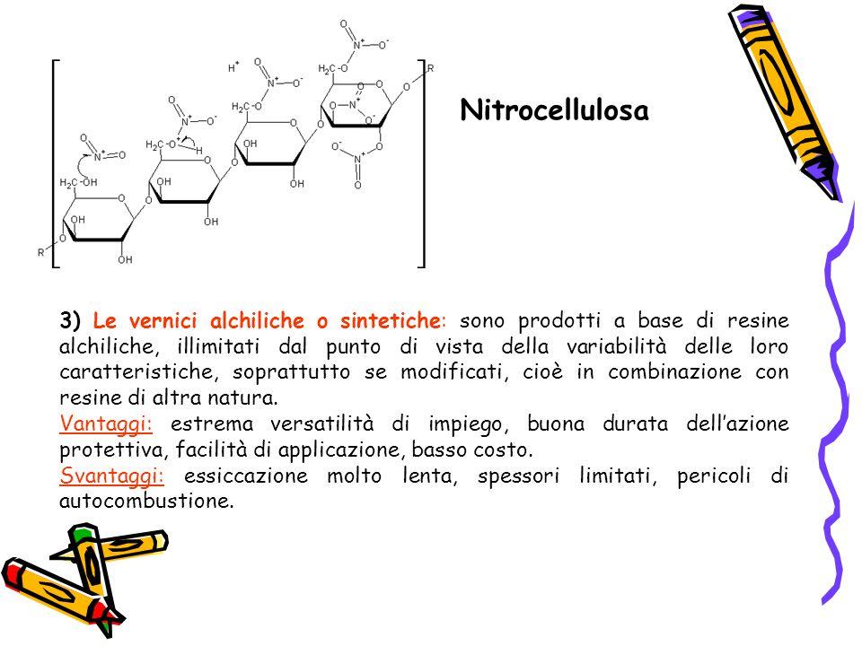 Nitrocellulosa 3) Le vernici alchiliche o sintetiche: sono prodotti a base di resine alchiliche, illimitati dal punto di vista della variabilità delle
