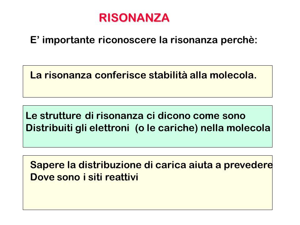 E' importante riconoscere la risonanza perchè: Le strutture di risonanza ci dicono come sono Distribuiti gli elettroni (o le cariche) nella molecola L