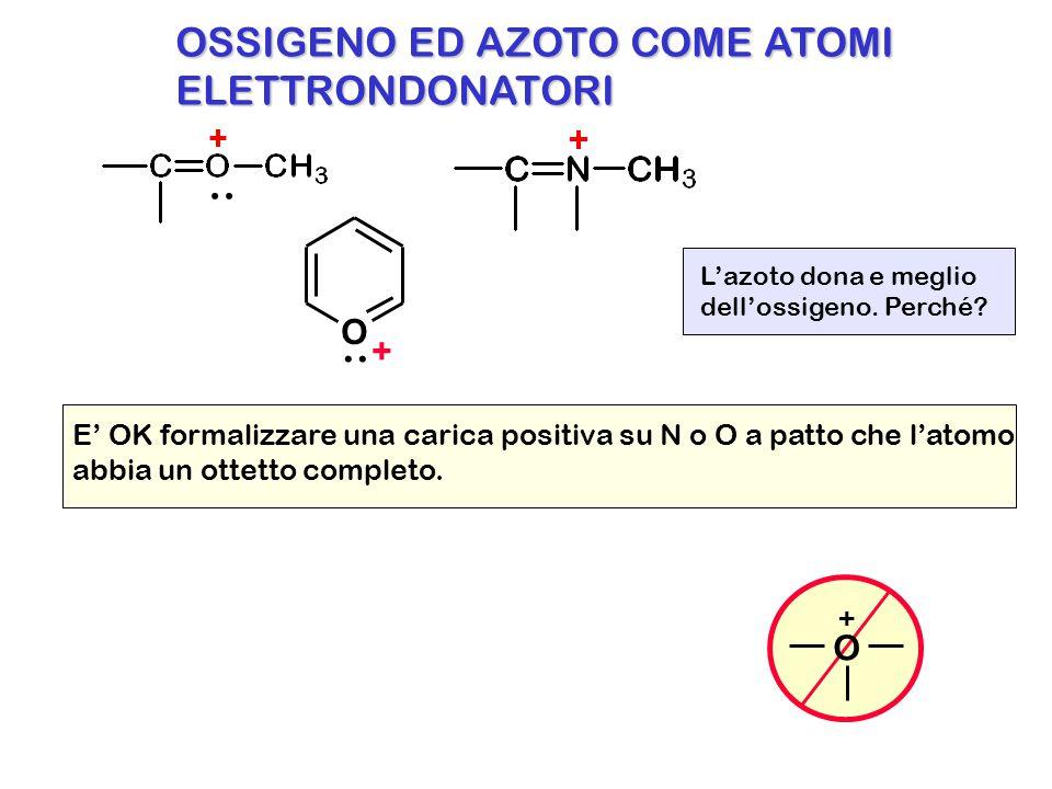 OSSIGENO ED AZOTO COME ATOMI ELETTRONDONATORI.. E' OK formalizzare una carica positiva su N o O a patto che l'atomo abbia un ottetto completo. O + L'a