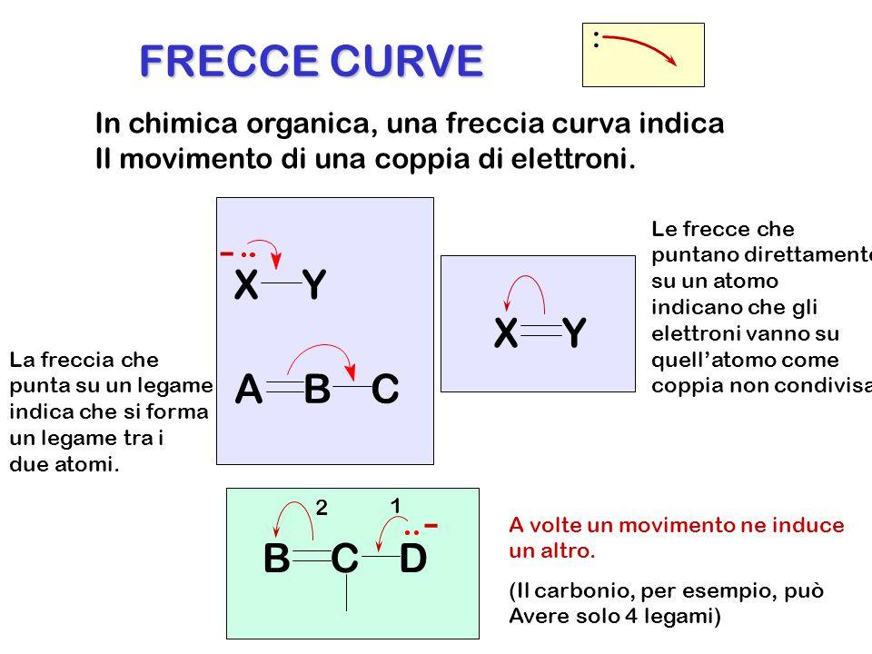 In chimica organica, una freccia curva indica Il movimento di una coppia di elettroni. : XY ABC - XY La freccia che punta su un legame indica che si f
