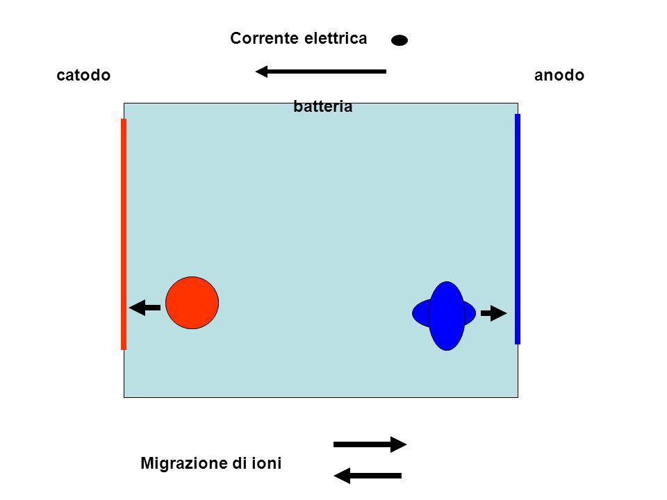 + - batteria catodoanodo Corrente elettrica Migrazione di ioni